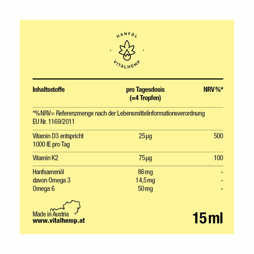 Vitamin D3 + K2 in Bio-Hanföl (15 ml)