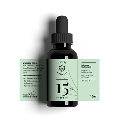 CBD-Öl 15% (10ml) in Bio-Hanföl